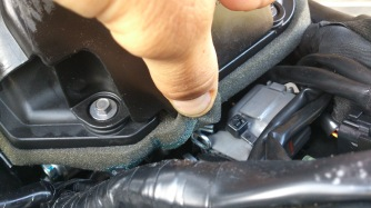 Hose and clamp that have are at the base of the cylinder that is part of the Airbox cover.
